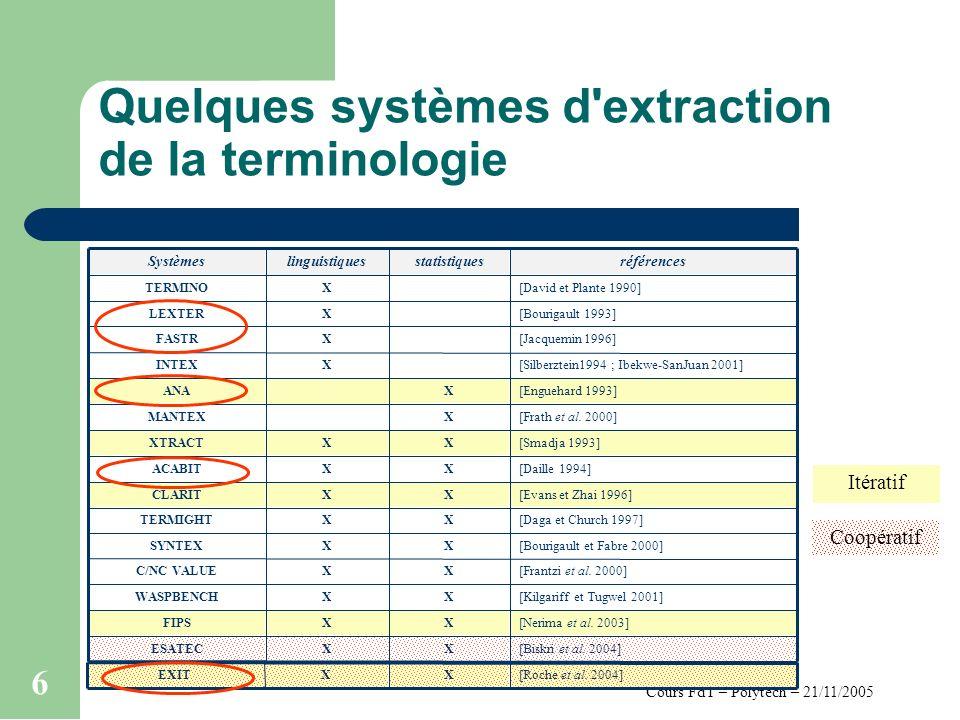 Cours FdT – Polytech – 21/11/2005 6 Quelques systèmes d'extraction de la terminologie [Bourigault et Fabre 2000]XXSYNTEX [Biskri et al. 2004]XXESATEC