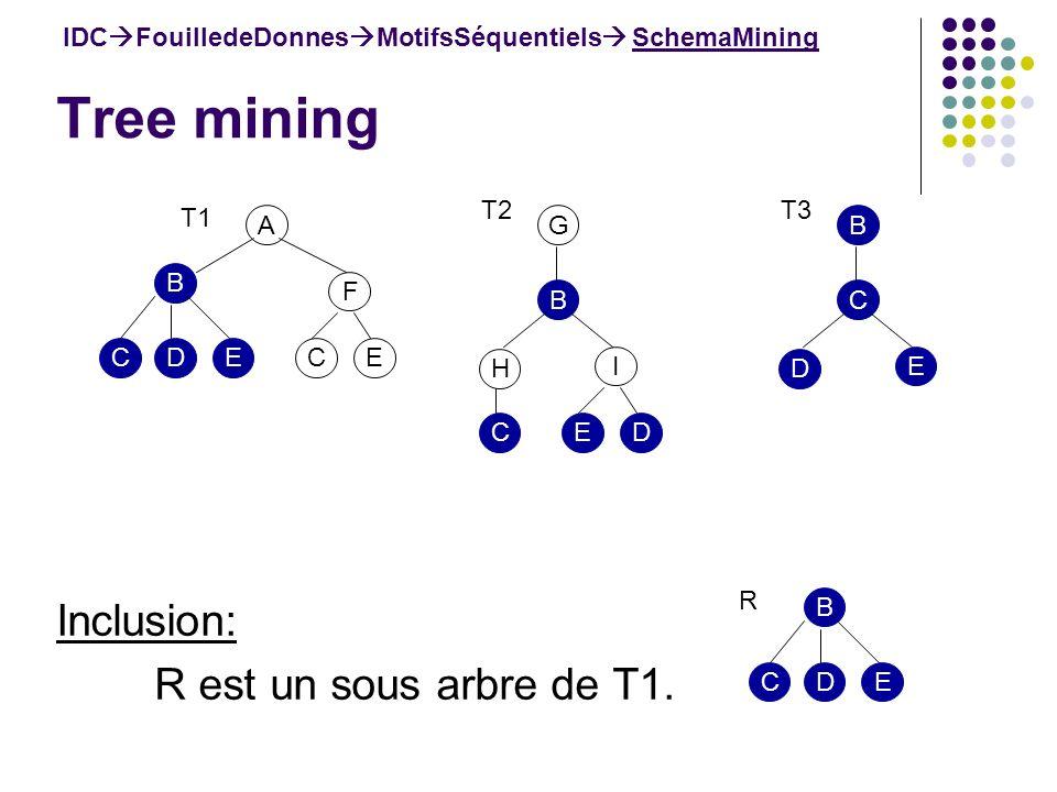 Tree mining IDC FouilledeDonnes MotifsSéquentiels SchemaMining Inclusion: R est un sous arbre de T1. A B F ECEDC T1 B H I DEC T2 G C D E T3 B B EDC R
