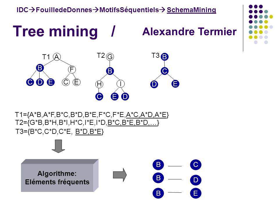 Tree mining / IDC FouilledeDonnes MotifsSéquentiels SchemaMining A B F ECEDC T1 B H I DEC T2 G C D E T3 B E D C Alexandre Termier T1={A*B,A*F,B*C,B*D,B*E,F*C,F*E,A*C,A*D,A*E} T2={G*B,B*H,B*I,H*C,I*E,I*D,B*C,B*E,B*D,…} T3={B*C,C*D,C*E, B*D,B*E} Algorithme: Eléments fréquents B B B