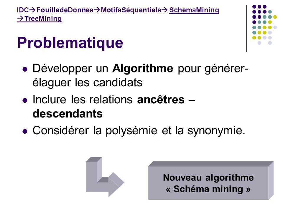 Problematique IDC FouilledeDonnes MotifsSéquentiels SchemaMining TreeMining Développer un Algorithme pour générer- élaguer les candidats Inclure les r