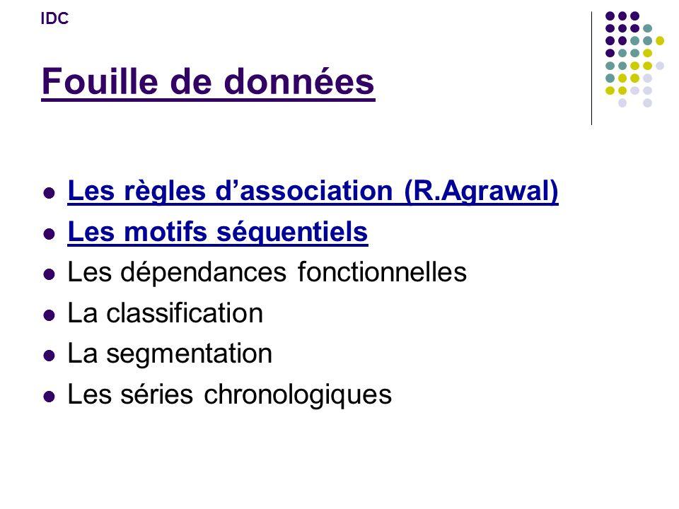 Fouille de données Les règles dassociation (R.Agrawal) Les motifs séquentiels Les dépendances fonctionnelles La classification La segmentation Les séries chronologiques IDC