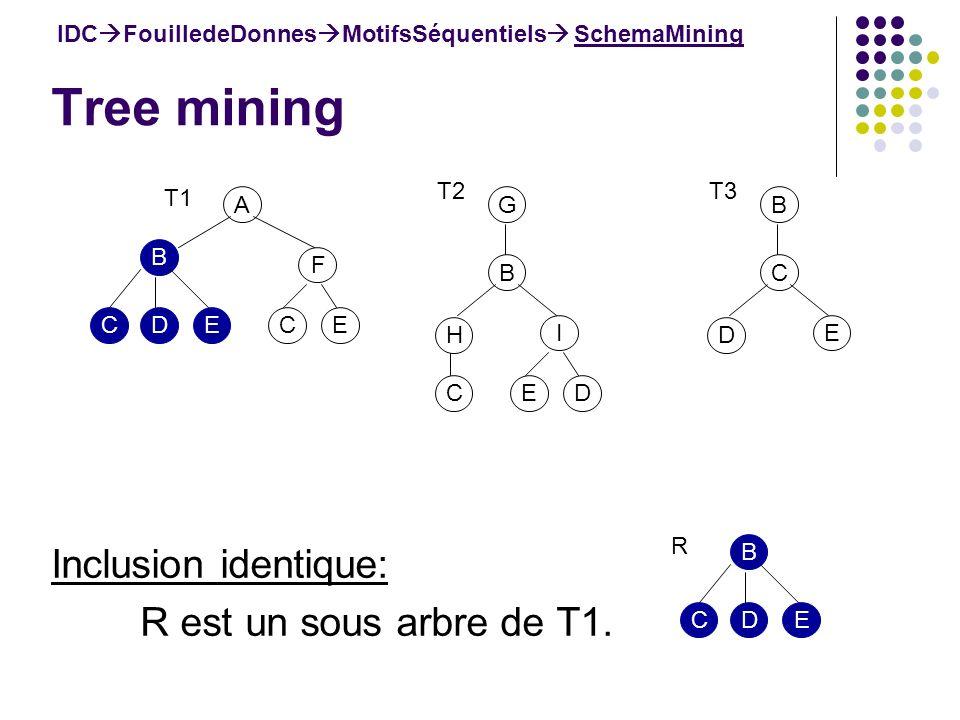 Tree mining IDC FouilledeDonnes MotifsSéquentiels SchemaMining Inclusion identique: R est un sous arbre de T1. A B F ECEDC T1 B H I DEC T2 G C D E T3