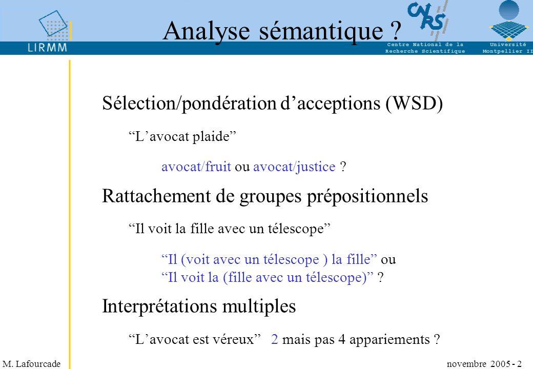 M. Lafourcade novembre 2005 - 2 Analyse sémantique ? Sélection/pondération dacceptions (WSD) Lavocat plaide avocat/fruit ou avocat/justice ? Rattachem