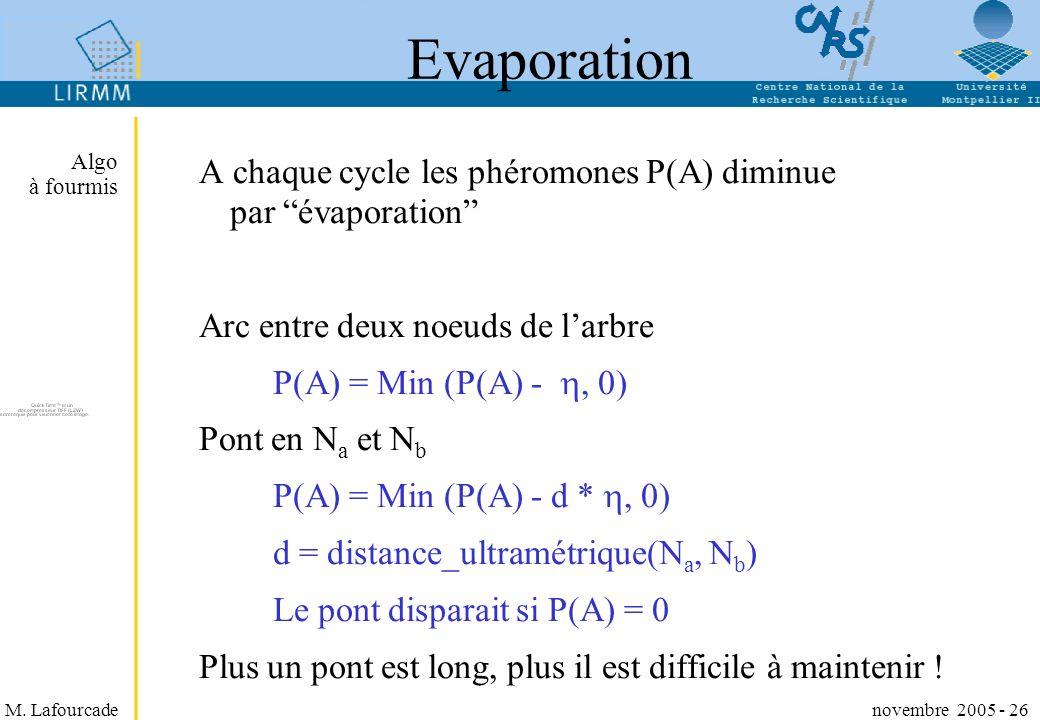 M. Lafourcade novembre 2005 - 26 Evaporation A chaque cycle les phéromones P(A) diminue par évaporation Arc entre deux noeuds de larbre P(A) = Min (P(