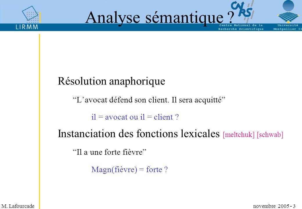 M. Lafourcade novembre 2005 - 3 Analyse sémantique ? Résolution anaphorique Lavocat défend son client. Il sera acquitté il = avocat ou il = client ? I