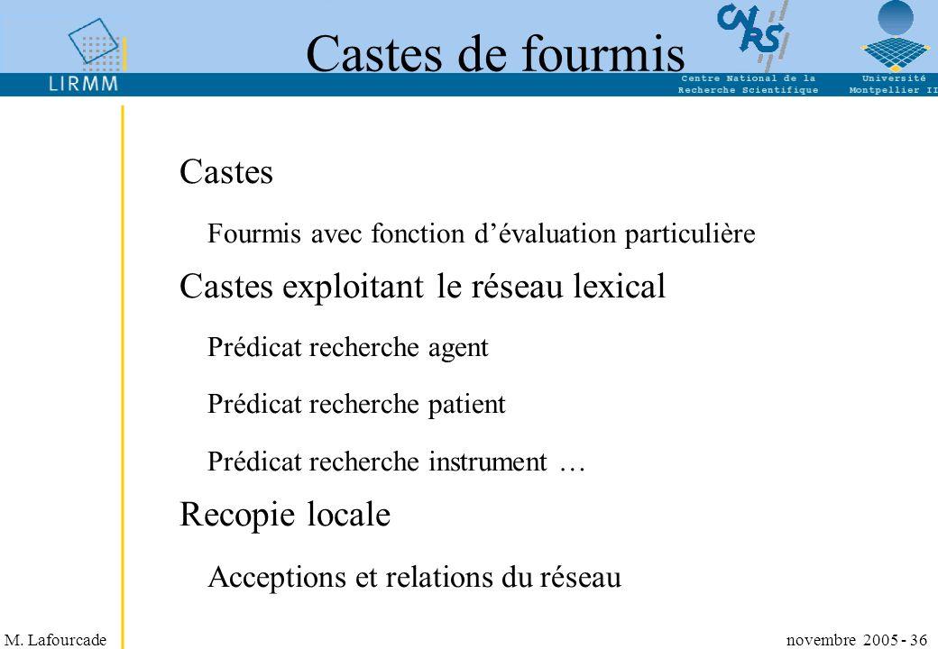 M. Lafourcade novembre 2005 - 36 Castes de fourmis Castes Fourmis avec fonction dévaluation particulière Castes exploitant le réseau lexical Prédicat