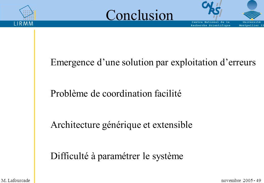M. Lafourcade novembre 2005 - 49 Conclusion Emergence dune solution par exploitation derreurs Problème de coordination facilité Architecture générique