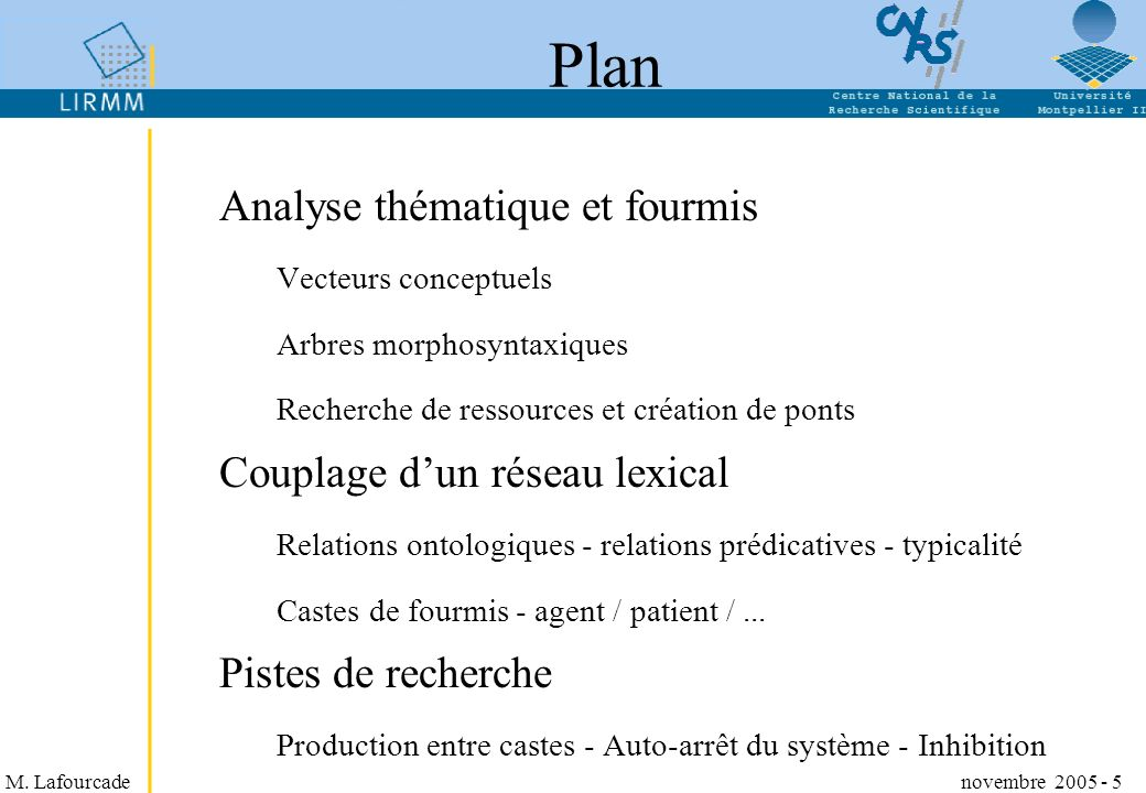 M. Lafourcade novembre 2005 - 5 Plan Analyse thématique et fourmis Vecteurs conceptuels Arbres morphosyntaxiques Recherche de ressources et création d