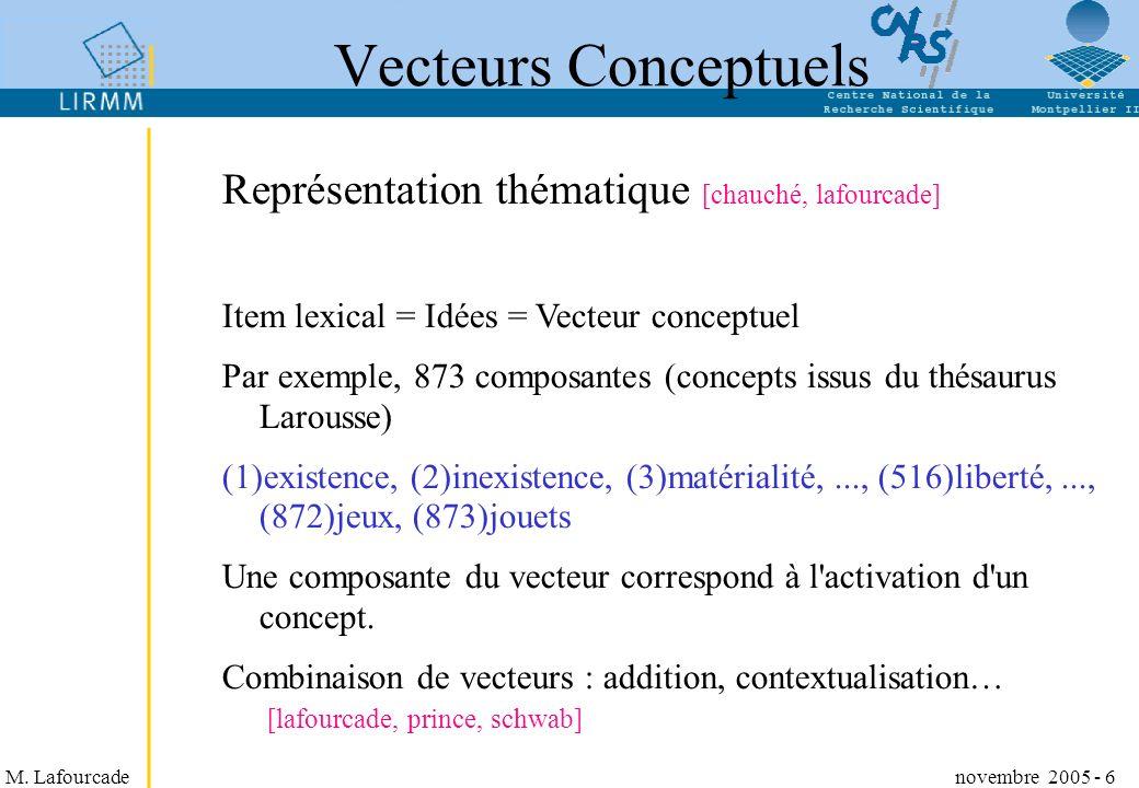 M. Lafourcade novembre 2005 - 6 Représentation thématique [chauché, lafourcade] Item lexical = Idées = Vecteur conceptuel Par exemple, 873 composantes