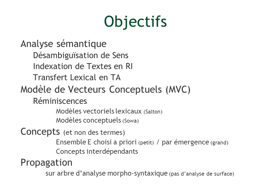 Analyse sémantique Désambiguïsation de Sens Indexation de Textes en RI Transfert Lexical en TA Modèle de Vecteurs Conceptuels (MVC) Réminiscences Modè