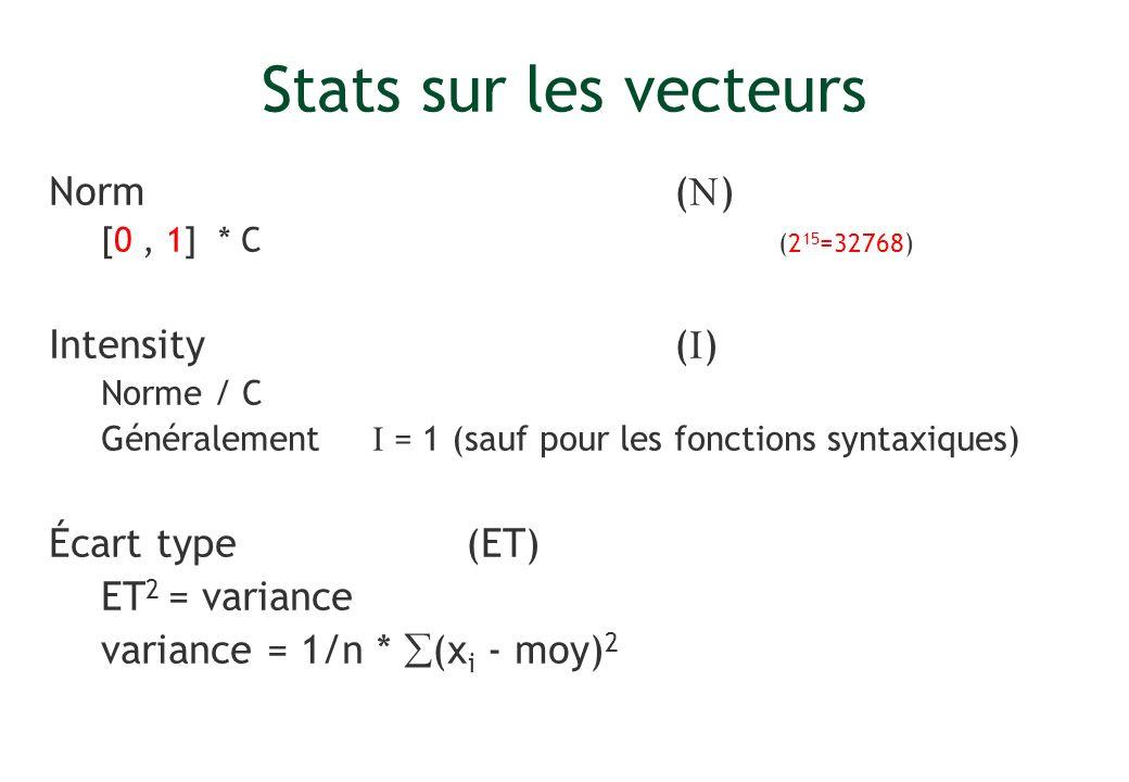 Stats sur les vecteurs Norm( ) [0, 1] * C (2 15 =32768) Intensity( ) Norme / C Généralement = 1 (sauf pour les fonctions syntaxiques) Écart type (ET)