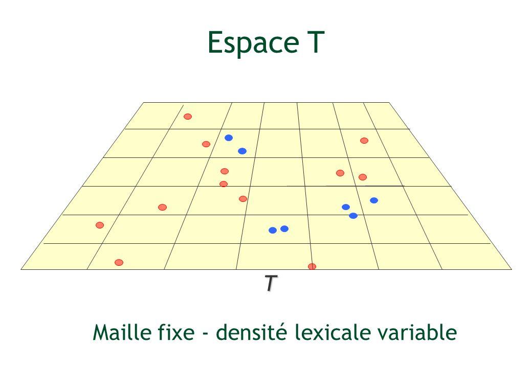 T Espace T Maille fixe - densité lexicale variable