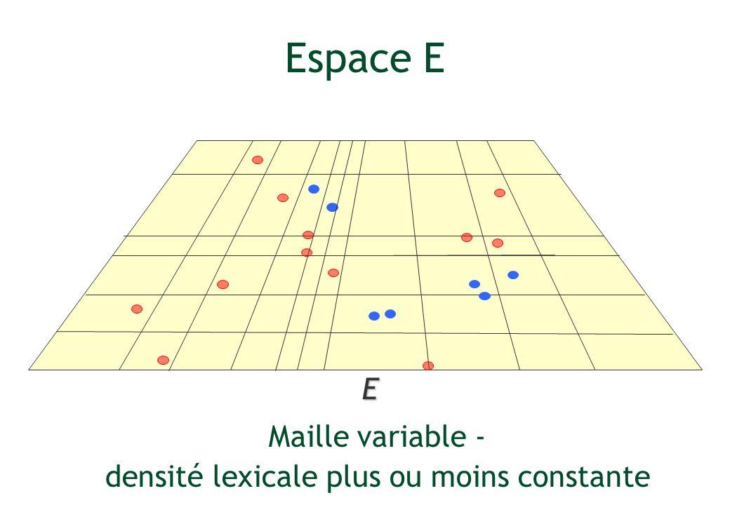 E Espace E Maille variable - densité lexicale plus ou moins constante