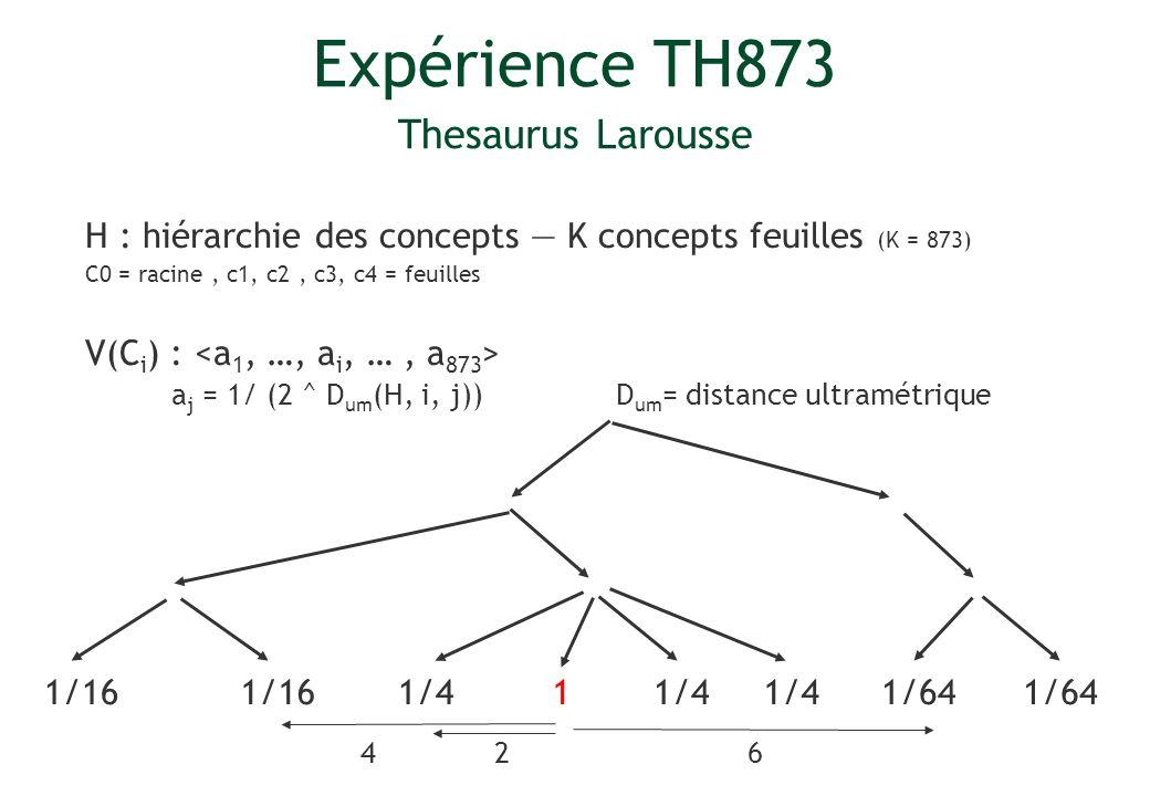 Expérience TH873 Thesaurus Larousse H : hiérarchie des concepts K concepts feuilles (K = 873) C0 = racine, c1, c2, c3, c4 = feuilles V(C i ) : a j = 1