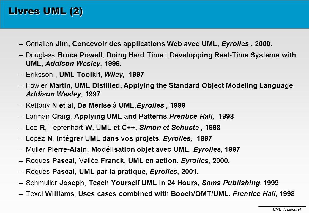 UML T. Libourel Livres UML (1) è Booch Grady, Rumbaugh James, and Jacobson Ivar, The Unified Modeling Language User Guide, 0-201-57168-4, Addison Wesl