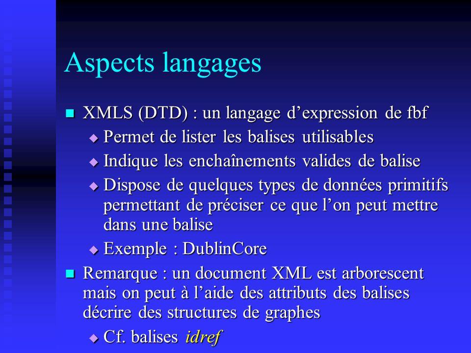 Aspects langages XMLS (DTD) : un langage dexpression de fbf XMLS (DTD) : un langage dexpression de fbf Permet de lister les balises utilisables Permet