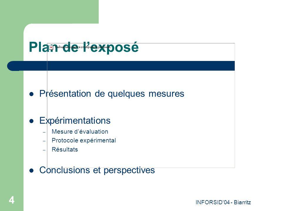 INFORSID 04 - Biarritz 4 Plan de lexposé Présentation de quelques mesures Expérimentations – Mesure dévaluation – Protocole expérimental – Résultats Conclusions et perspectives