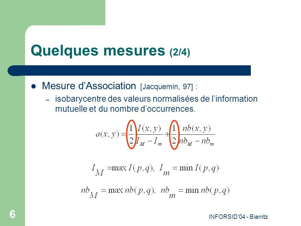 INFORSID 04 - Biarritz 6 Quelques mesures (2/4) Mesure dAssociation [Jacquemin, 97] : – isobarycentre des valeurs normalisées de linformation mutuelle et du nombre doccurrences.