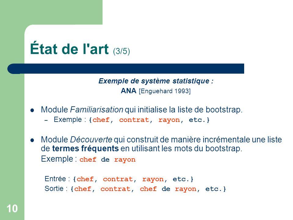 10 État de l'art (3/5) Exemple de système statistique : ANA [Enguehard 1993] Module Familiarisation qui initialise la liste de bootstrap. – Exemple :