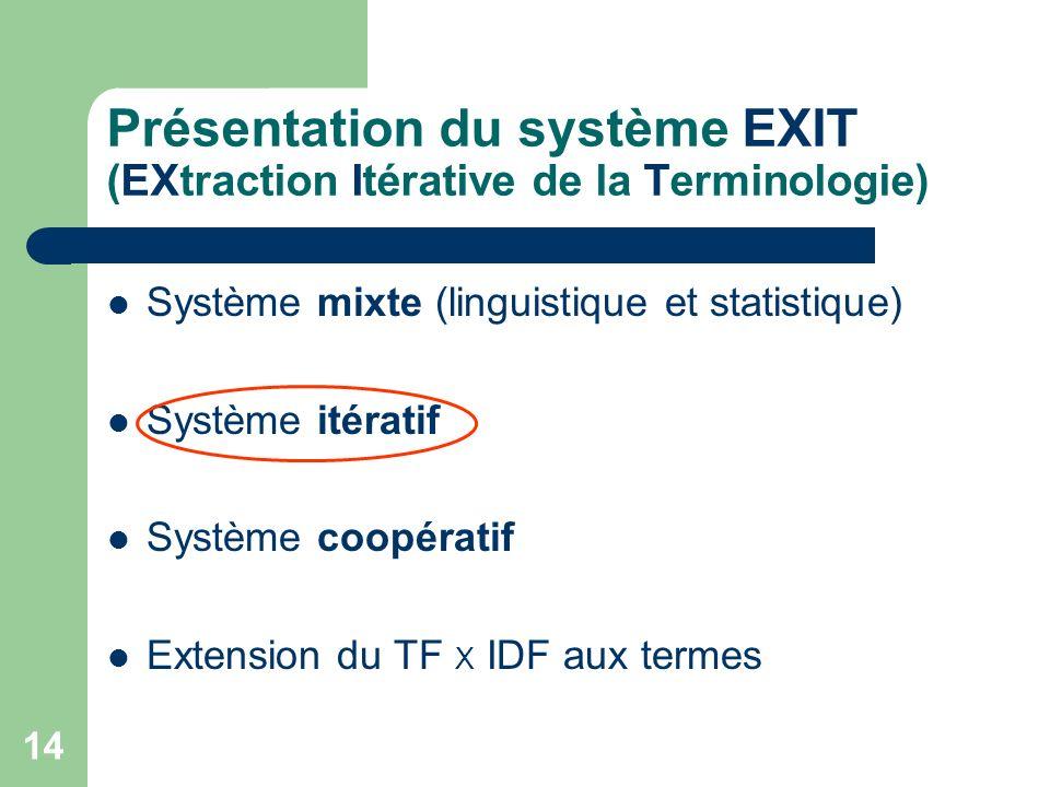 14 Présentation du système EXIT (EXtraction Itérative de la Terminologie) Système mixte (linguistique et statistique) Système itératif Système coopéra