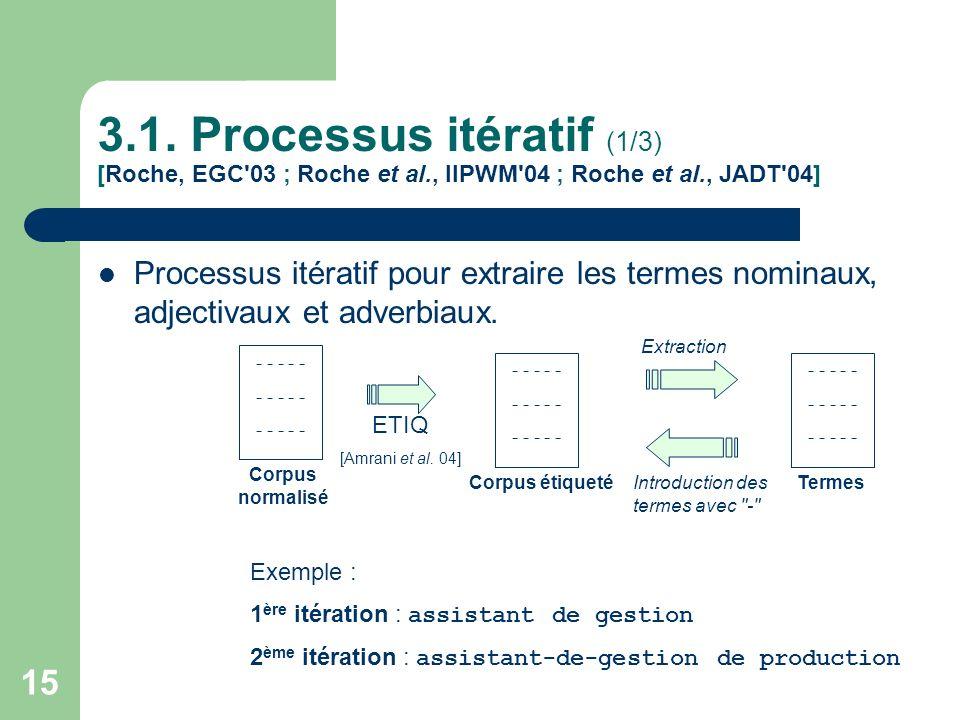15 3.1. Processus itératif (1/3) [Roche, EGC'03 ; Roche et al., IIPWM'04 ; Roche et al., JADT'04] Processus itératif pour extraire les termes nominaux