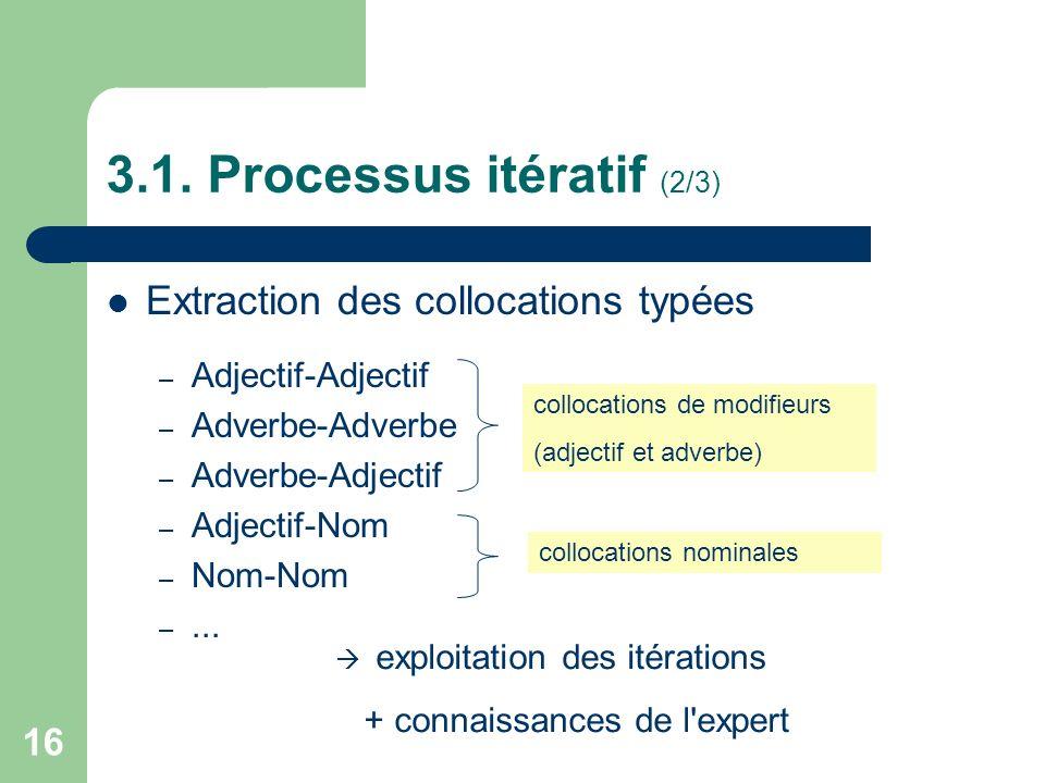 16 3.1. Processus itératif (2/3) Extraction des collocations typées – Adjectif-Adjectif – Adverbe-Adverbe – Adverbe-Adjectif – Adjectif-Nom – Nom-Nom
