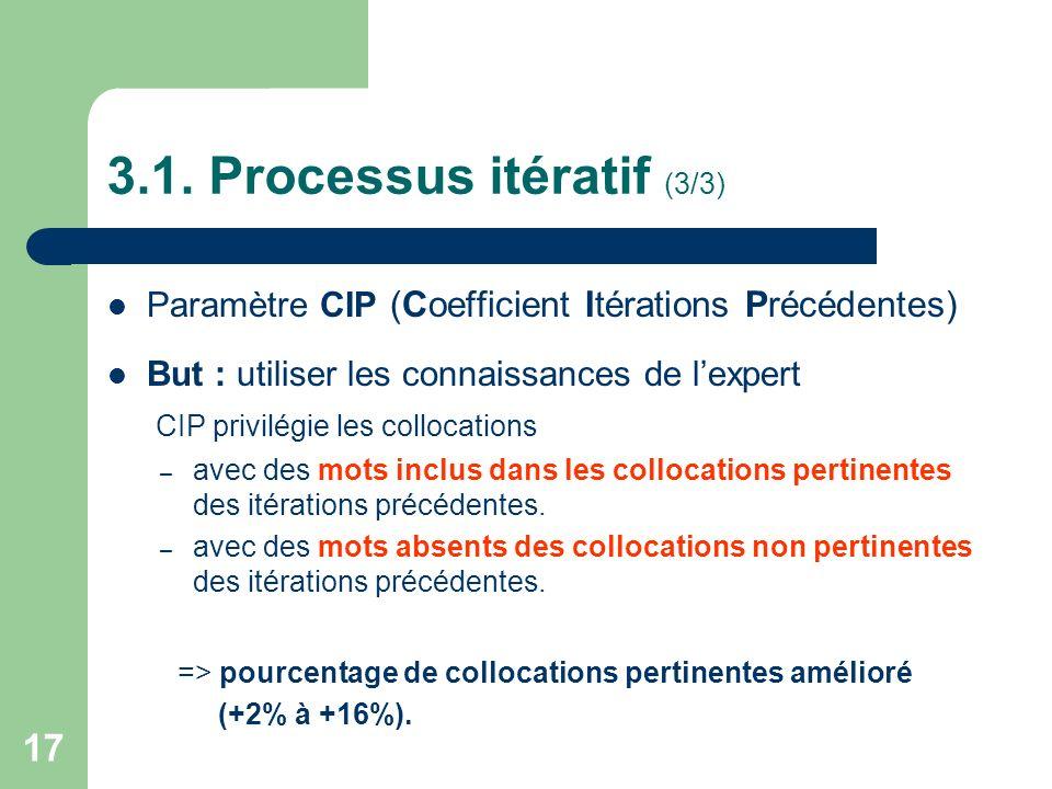 17 3.1. Processus itératif (3/3) Paramètre CIP (Coefficient Itérations Précédentes) But : utiliser les connaissances de lexpert CIP privilégie les col