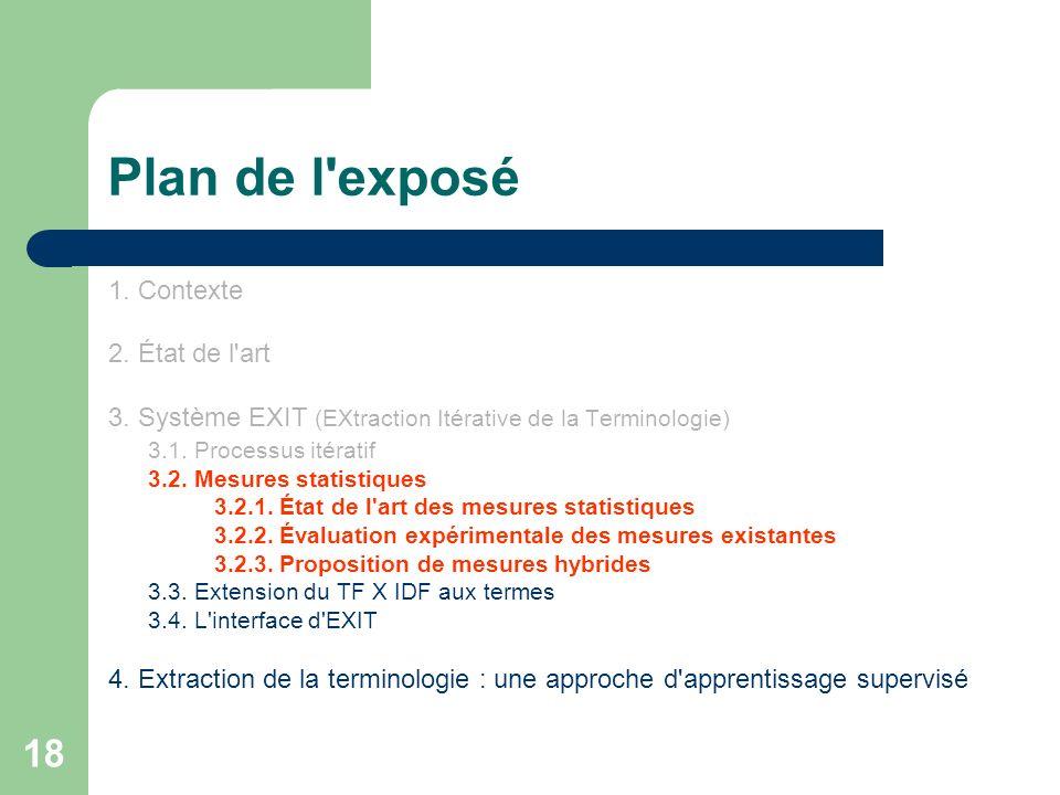 18 Plan de l'exposé 1. Contexte 2. État de l'art 3. Système EXIT (EXtraction Itérative de la Terminologie) 3.1. Processus itératif 3.2. Mesures statis