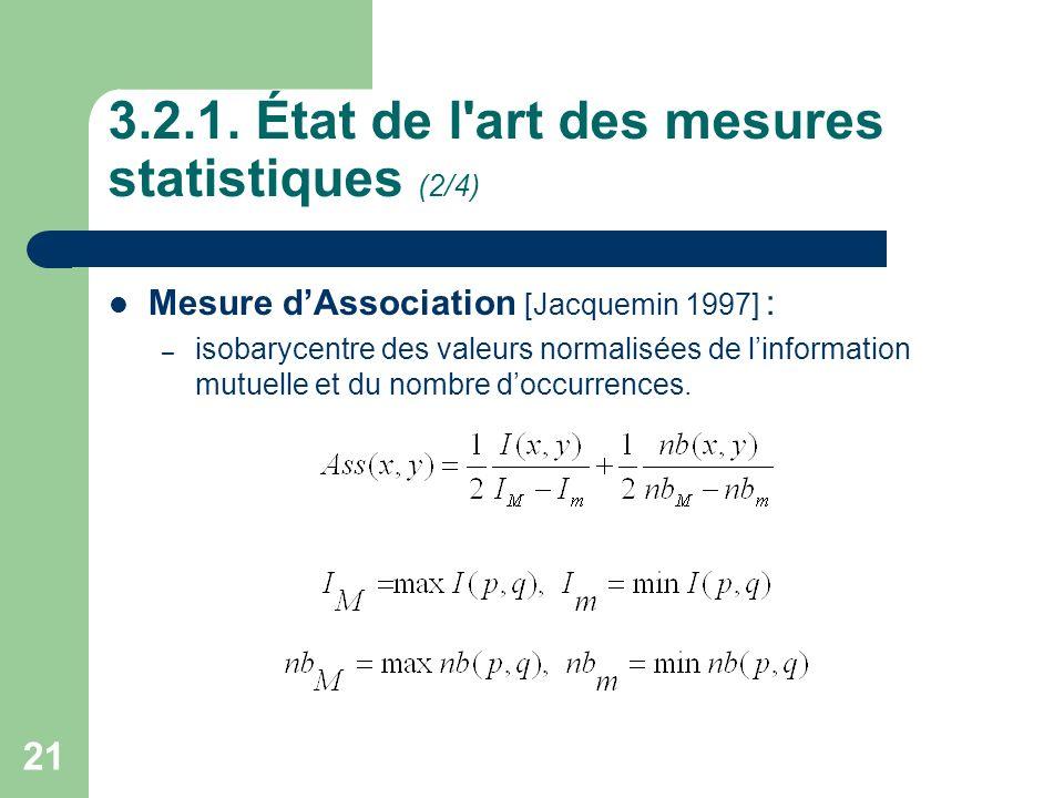 21 3.2.1. État de l'art des mesures statistiques (2/4) Mesure dAssociation [Jacquemin 1997] : – isobarycentre des valeurs normalisées de linformation