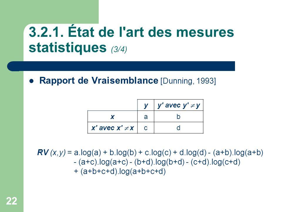 22 3.2.1. État de l'art des mesures statistiques (3/4) Rapport de Vraisemblance [Dunning, 1993] y y' avec y' y x ab x' avec x' x cd RV (x,y) = a.log(a