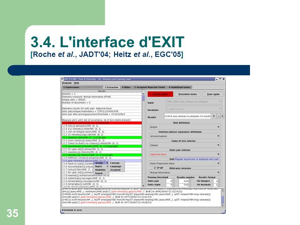 35 3.4. L'interface d'EXIT [Roche et al., JADT'04; Heitz et al., EGC'05]