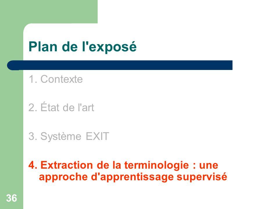 36 Plan de l'exposé 1. Contexte 2. État de l'art 3. Système EXIT 4. Extraction de la terminologie : une approche d'apprentissage supervisé