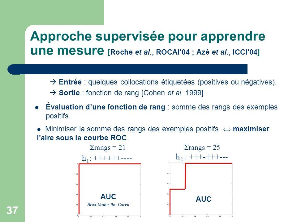 37 Approche supervisée pour apprendre une mesure [Roche et al., ROCAI'04 ; Azé et al., ICCI'04] Entrée : quelques collocations étiquetées (positives o