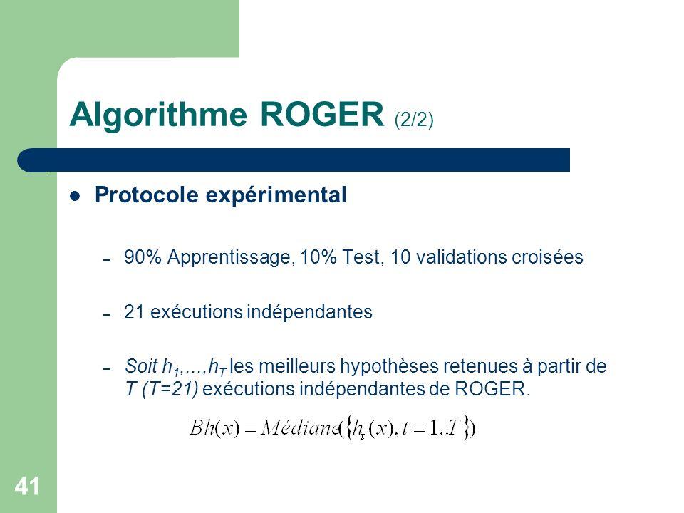 41 Algorithme ROGER (2/2) Protocole expérimental – 90% Apprentissage, 10% Test, 10 validations croisées – 21 exécutions indépendantes – Soit h 1,...,h