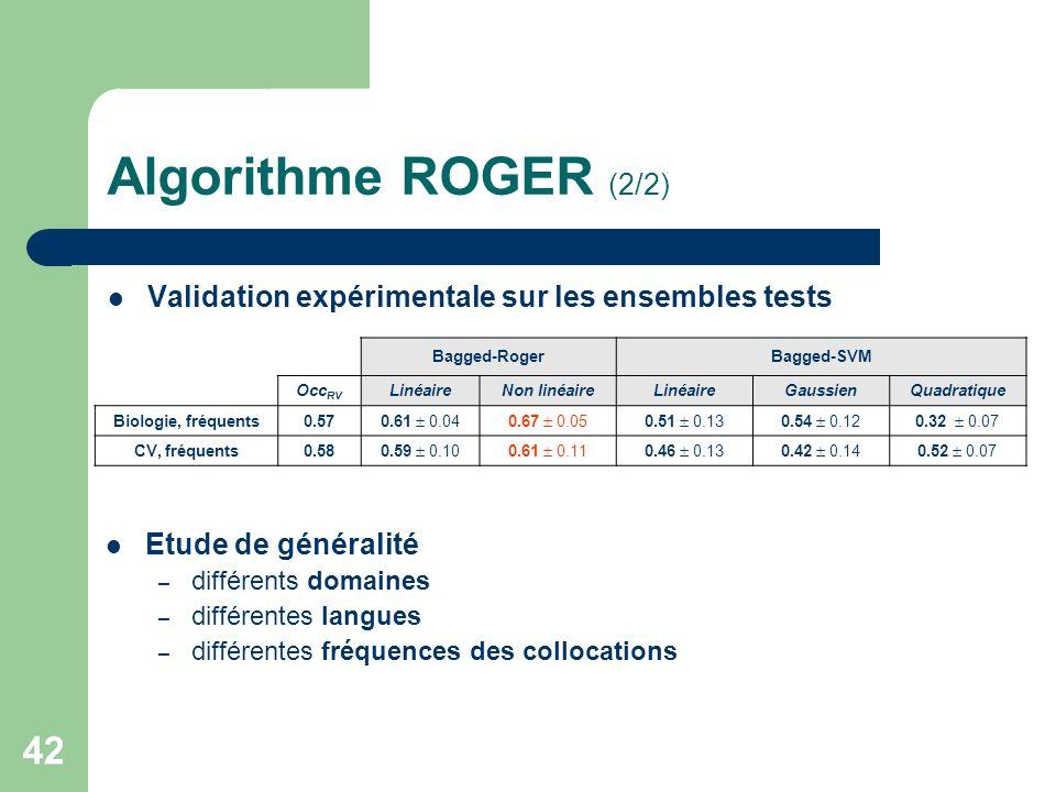 42 Algorithme ROGER (2/2) Validation expérimentale sur les ensembles tests Bagged-RogerBagged-SVM Occ RV LinéaireNon linéaireLinéaireGaussienQuadratiq