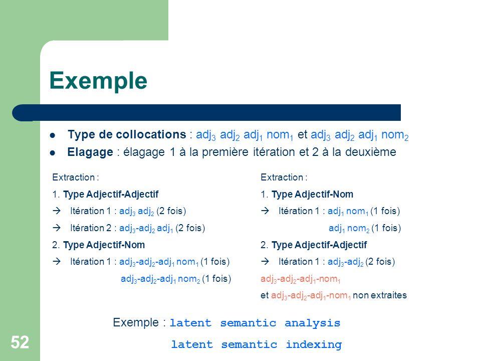52 Exemple Type de collocations : adj 3 adj 2 adj 1 nom 1 et adj 3 adj 2 adj 1 nom 2 Elagage : élagage 1 à la première itération et 2 à la deuxième Ex