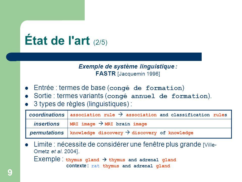 9 État de l'art (2/5) Exemple de système linguistique : FASTR [Jacquemin 1996] Entrée : termes de base ( congé de formation ) Sortie : termes variants