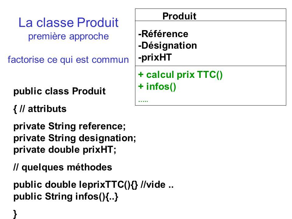 La classe Produit première approche factorise ce qui est commun Produit -Référence -Désignation -prixHT + calcul prix TTC() + infos() …..