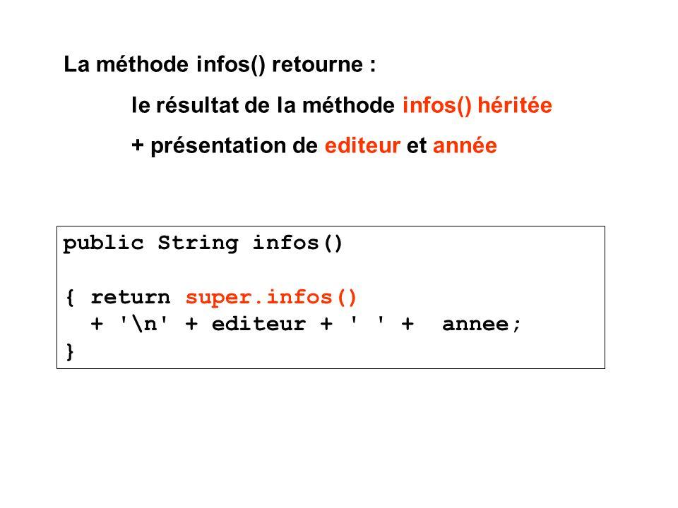 La méthode infos() retourne : le résultat de la méthode infos() héritée + présentation de editeur et année public String infos() { return super.infos() + \n + editeur + + annee; }