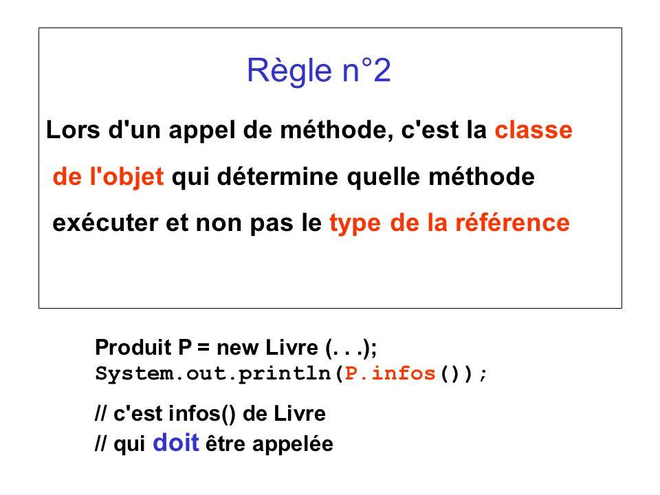 Règle n°2 Lors d un appel de méthode, c est la classe de l objet qui détermine quelle méthode exécuter et non pas le type de la référence Produit P = new Livre (...); System.out.println(P.infos()); // c est infos() de Livre // qui doit être appelée