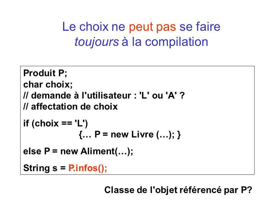 Le choix ne peut pas se faire toujours à la compilation Produit P; char choix; // demande à l utilisateur : L ou A .