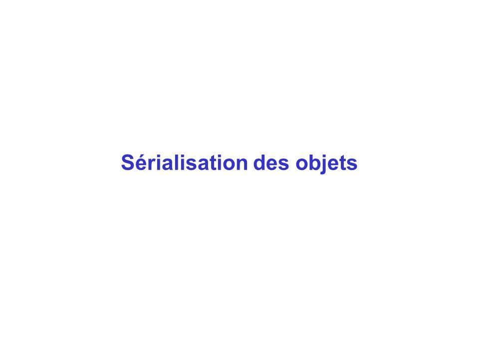 (2) Répartition des tâches selon la relation de composition Objet o Classe C Objet o1 Classe C1 Objet o2 Classe C2 int i sauver(f) { o1.sauver(f) o2.sauver(f) écrire(i) dans f } Classe C