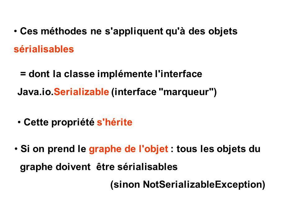 Ces méthodes ne s'appliquent qu'à des objets sérialisables = dont la classe implémente l'interface Java.io.Serializable (interface