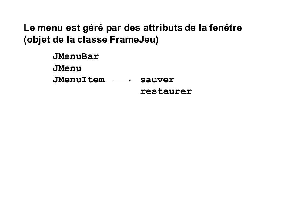 Le menu est géré par des attributs de la fenêtre (objet de la classe FrameJeu) JMenuBar JMenu JMenuItemsauver restaurer