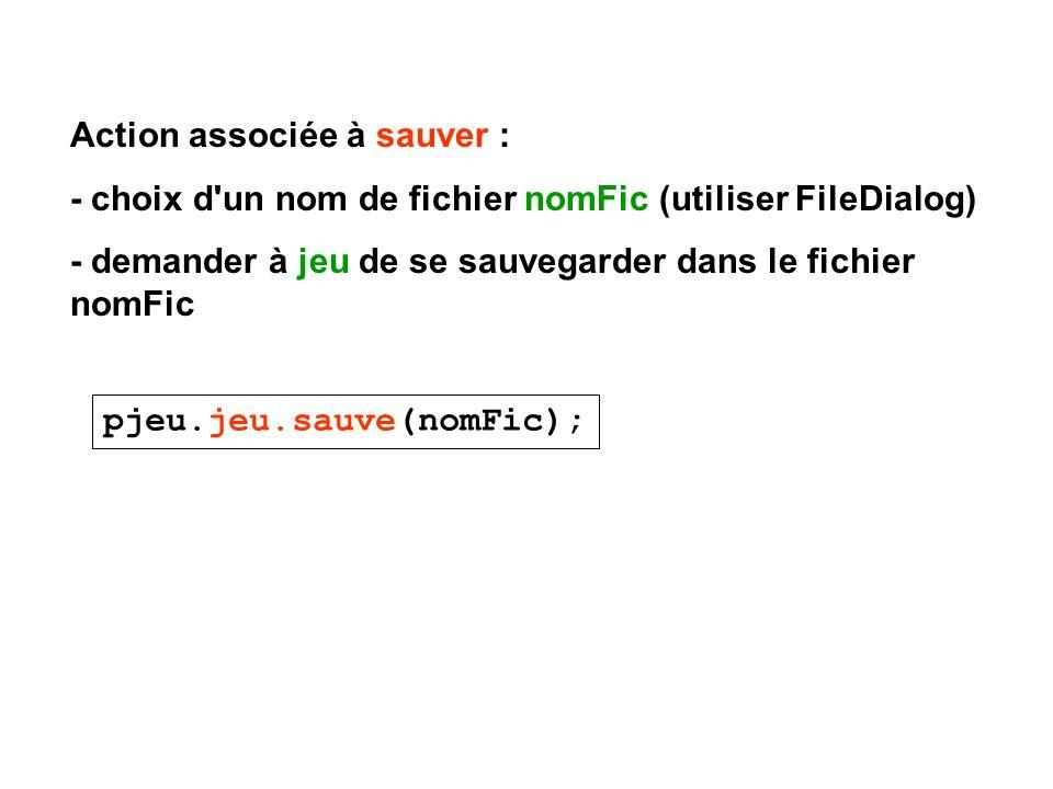 Action associée à sauver : - choix d'un nom de fichier nomFic (utiliser FileDialog) - demander à jeu de se sauvegarder dans le fichier nomFic pjeu.jeu