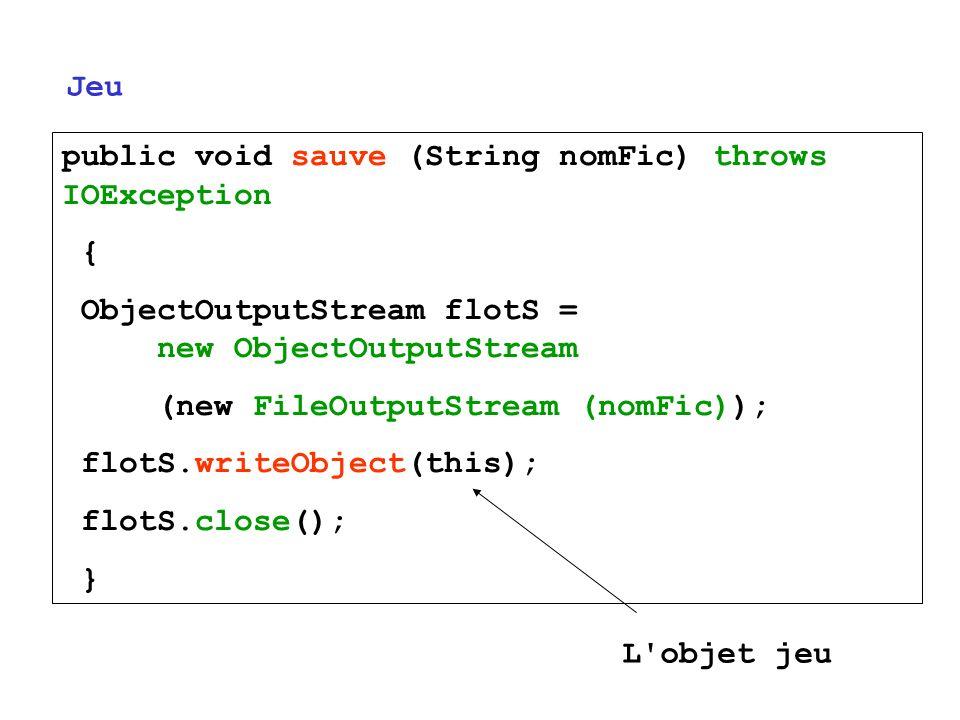 public void sauve (String nomFic) throws IOException { ObjectOutputStream flotS = new ObjectOutputStream (new FileOutputStream (nomFic)); flotS.writeO