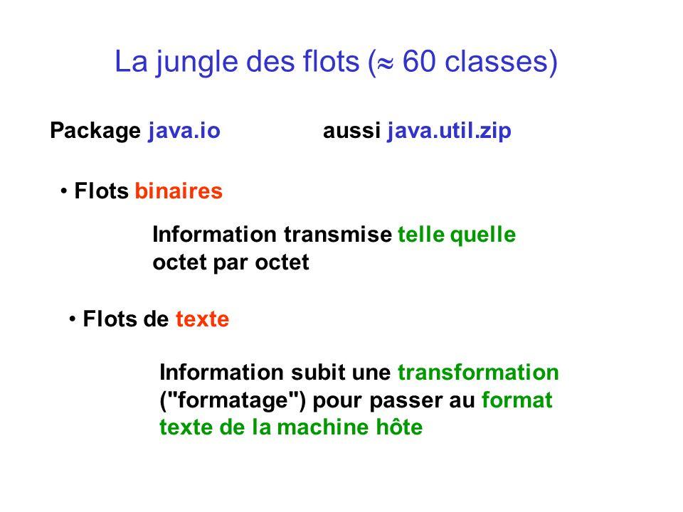 La jungle des flots ( 60 classes) Flots binaires Package java.io aussi java.util.zip Information transmise telle quelle octet par octet Flots de texte