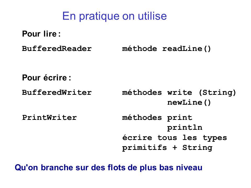 En pratique on utilise Pour lire : BufferedReaderméthode readLine() Pour écrire : BufferedWriterméthodes write (String) newLine() PrintWriterméthodes