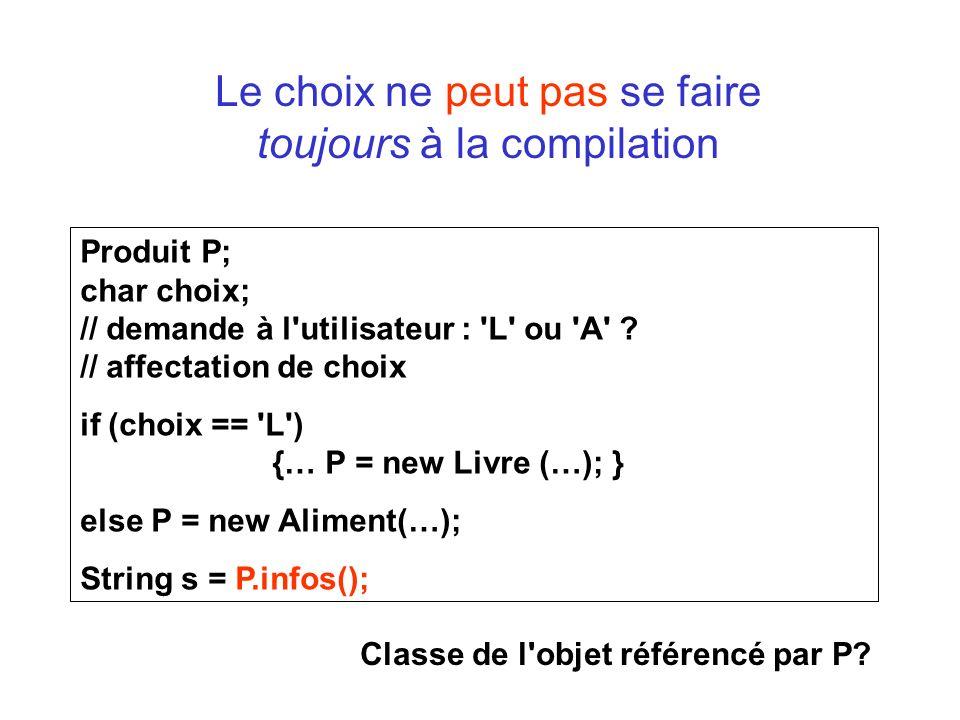 Le choix ne peut pas se faire toujours à la compilation Produit P; char choix; // demande à l'utilisateur : 'L' ou 'A' ? // affectation de choix if (c