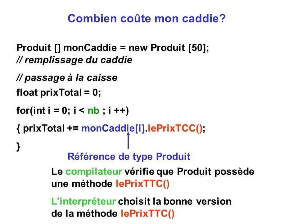 Combien coûte mon caddie? Produit [] monCaddie = new Produit [50]; // remplissage du caddie // passage à la caisse float prixTotal = 0; for(int i = 0;